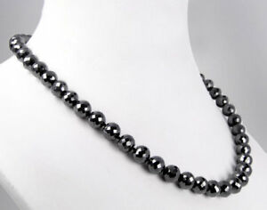 """Black Diamond 10 mm certified Faceted Beads Necklace 18 """" Top Selling Product"""