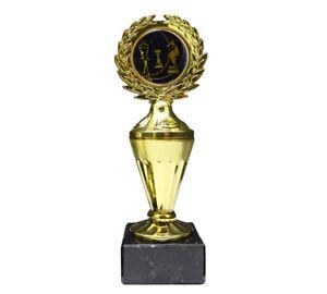 Schach-Pokal mit blauem Emblem und Ihrer Wunschgravur (Biso1)