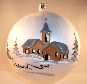 Fensterkugel 14cm Ice / weiß  Weihnachtsdeko mundeblasen handbemalt Lauscha Glas