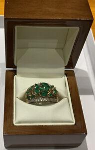 Emerald And Diamond 9ct Gold Ring Size U QVC Fully Hallmarked 3.77g