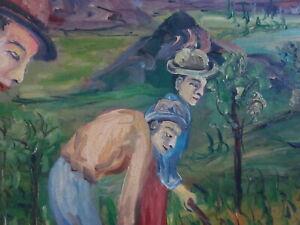 Bellissimo dipinto olio su tela paesaggio contadini firmato 80x63cm Ligabue naif
