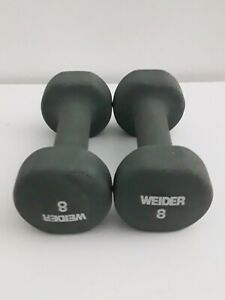 2 pc. Weider 8 lb Rubber Coated Dumbell Set Gray (16 lbs total)