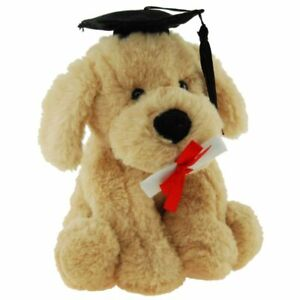 """Graduation Dog Puppy soft plush toy with cap and cert 7""""/18cm by Elka NEW"""