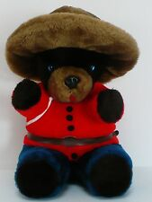 Vintage RCMP Royal Canadian Mounted Police Plush Bear 13 Inches Canada
