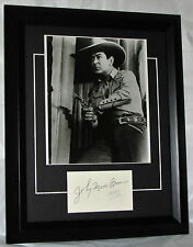 A1046JMB WESTERN JOHNNY MACK BROWN SIGNED  FRAMED MATTED SIGNED CARD WITH PHOTO