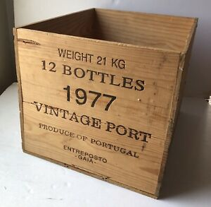 Large Old Dow's 1977 Vintage Port Wooden Crate, Wood Box