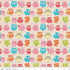FLANNEL by 1/2 Yard - Riley Blake Fabric ~ Tree Party Multi-Color Owls in Cream
