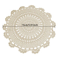 Crochet Flower Coasters Doilies Round Lace Table Cup Mats Beige 5.9'' Set of 4