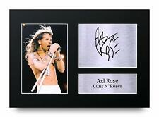 Axl Rose Signed Pre Printed Autograph A4 Photo Gift For a Guns n Roses Fan