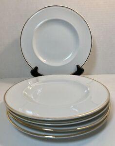 Set of 5 Pottery Barn GiGi White Salad Plates with Thin Gold Rim Japan