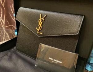 NWT YSL Saint Laurent Monogram Uptown Baby Calfskin Leather Clutch Pouch Bag