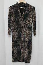 JANE LAMERTON Leopard Print Dress - Size 12 - Soft Stretch - 3/4 Sleeves.