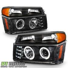 Black 2004-2012 Chevy Colorado Canyon Led Halo Projector Headlights+Bumper Lamps (Fits: Isuzu)