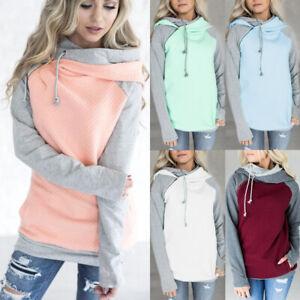 UK Womens Sweatshirt Sweater Hooded Pullover Hoodies Zipper Ladies Blouse Tops
