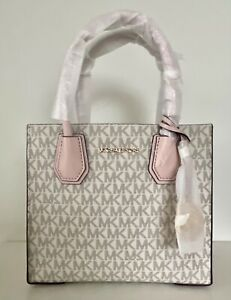Michael Kors Mercer Medium Mk Signature PVC Leather Satchel Crossbody Bag, Purse