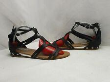 Steve Madden Delta Black Leather Zip Gladiator Sandals Womens Size 8 M