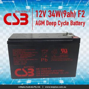 CSB HR1234W F2 12V 9Ah High Rate VRLA NBN UPS Alarm Battery Long Life Warranty