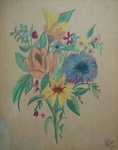 JANE MILLER - Mid Century Folk Art Pencil Sketch - Signed - Canada - Circa 1966