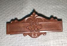 Vintage Dainty Embossed Solid Copper Monogramed C Clasp Bar Brooch Pin