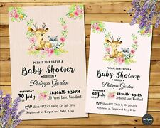 WOODLAND BABY SHOWER INVITATIONS FOREST ANIMALS CUSTOM INVITES GIRL FLORAL
