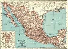 1943 Antique MEXICO Map Vintage Map of Mexico & Baja California Map 8030