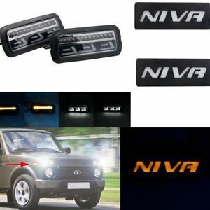 LED Daytime Running Lights DRL+Amber Side Marker Light for Lada Niva 4X4 1995+
