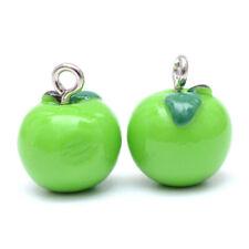 200pcs LimeGreen Apple Resin Charms Mini Cute Pendants Jewelry Making 15x12mm