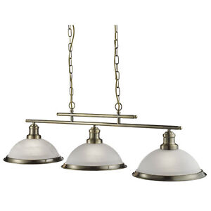 Bistro Antique Brass 3 Light Ceiling Bar Ceiling Pendant With Acid Glass Shades