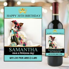 Personalised Happy Birthday Wine Champagne Bottle Sticker Label N190 Any Age