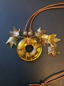 Artisan Faux Amber And Leaves Leather Cord Necklace