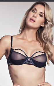Bordelle Renee Balconette Wire Bra (Navy Blue Size L) Brand New With Tags