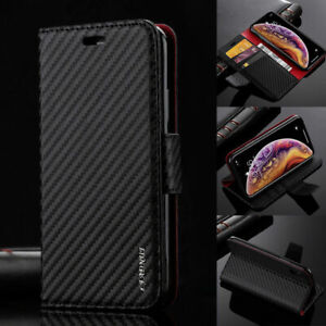 Luxury Carbon Flip Wallet Case Cover with Card slots for iPhone and Samsung