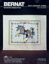 "Gray Carousel Horse Counted Cross Stitch Kit BERNAT 1987 11"" x 14"" J A Zoppel"