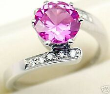 Created Pink Sapphire Silver Ring #127 Sz 6.5
