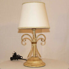 ITALIAN TABLE LAMP LIGHT WROUGHT BEATEN IRON FORGED ART.44 LAMPSHADE IVORY GOLD