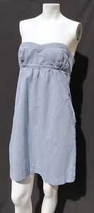 American Eagle Outfitters Bleu Blanc Rayé Jeans sans Bretelle Jean Robe M 10