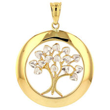 Polished 14k Gold Simple Round Tree of Life with Texture Charm Pendant