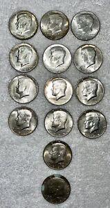 1965-1968 Kennedy Silver Half Dollar Lot of 14 Coins - 40% Silver