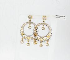 BEAUTIFUL DIAMOND CUT FILIGREE CHANDELIER 14K  GOLD  EARRINGS NIB # J335