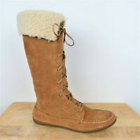Sperry Tan Suede Shearling Lace Up Moccasin Boots Women's Size 7