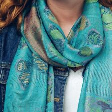 BUTTERFLY WOVEN PASHMINA SCARF SHAWL WOMENS LADIES BLUE TURQUOISE CHRISTMAS