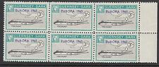 GUERNSEY-SARK COMMODORE: 1965 EUROPA opt on 3/- aircraft AT SC75 MNH block of 6