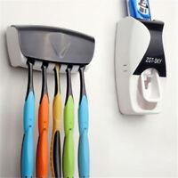 Wall Mount Automatic Toothpaste Dispenser Toothbrush Holder Bathroom Rack SE