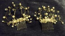 HANDCRAFTED PEARL CRYSTAL HAIR COMB SET, WHITE or IVORY colors, NEW, AUSTRALIA