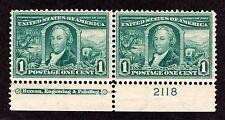 US 323 1c Louisiana Purchase Mint Bottom MI Plate Pair #2118 VF OG NH SCV $170