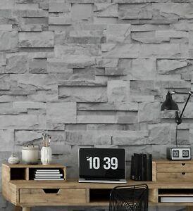 Slate Grey Realistic Stone Brick Wall Effect Textured Wallpaper Wall Faux