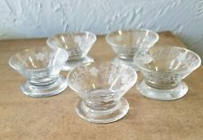 Five Vintage Floral Etched Clear Glass Open Salt Dips