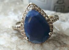 Sapphire And White Topaz Gold Plated Silver Ring