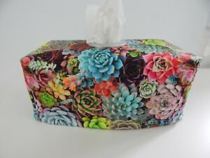 Tissue Box Cover Succulents Digital Print with Circle Opening Great Gift!