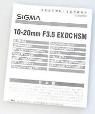 (PRL) SIGMA 10-20 mm F3.5 EX DC HSM ISTRUZIONI USO OBIETTIVO INSTRUCTIONS
